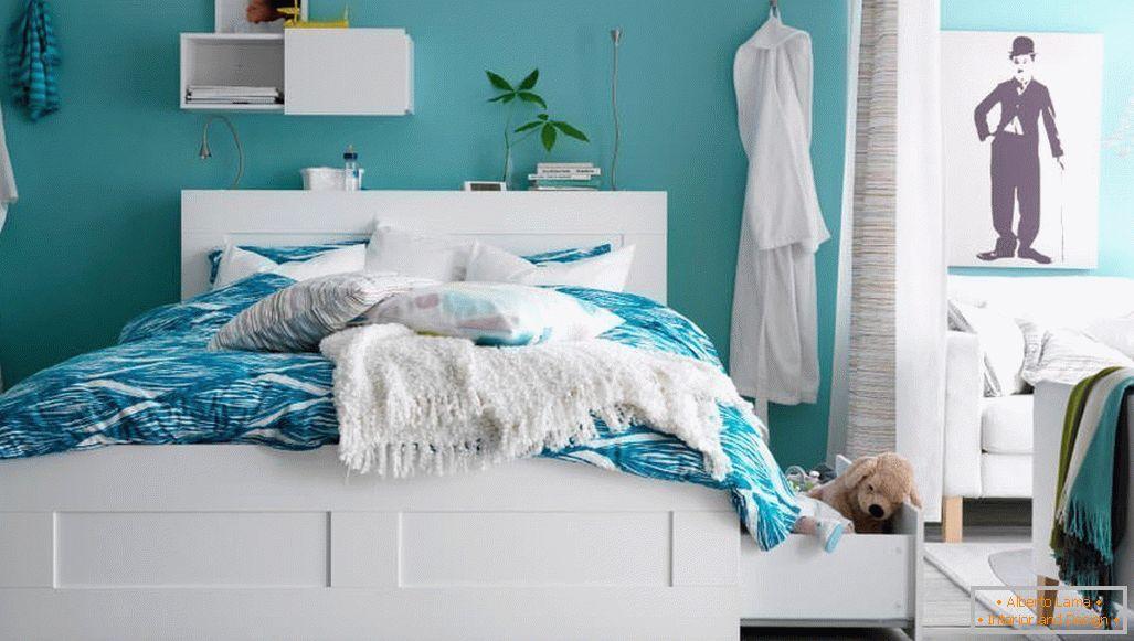Projekt Sypialni W Kolorze Turkusowym 75 Przykładów
