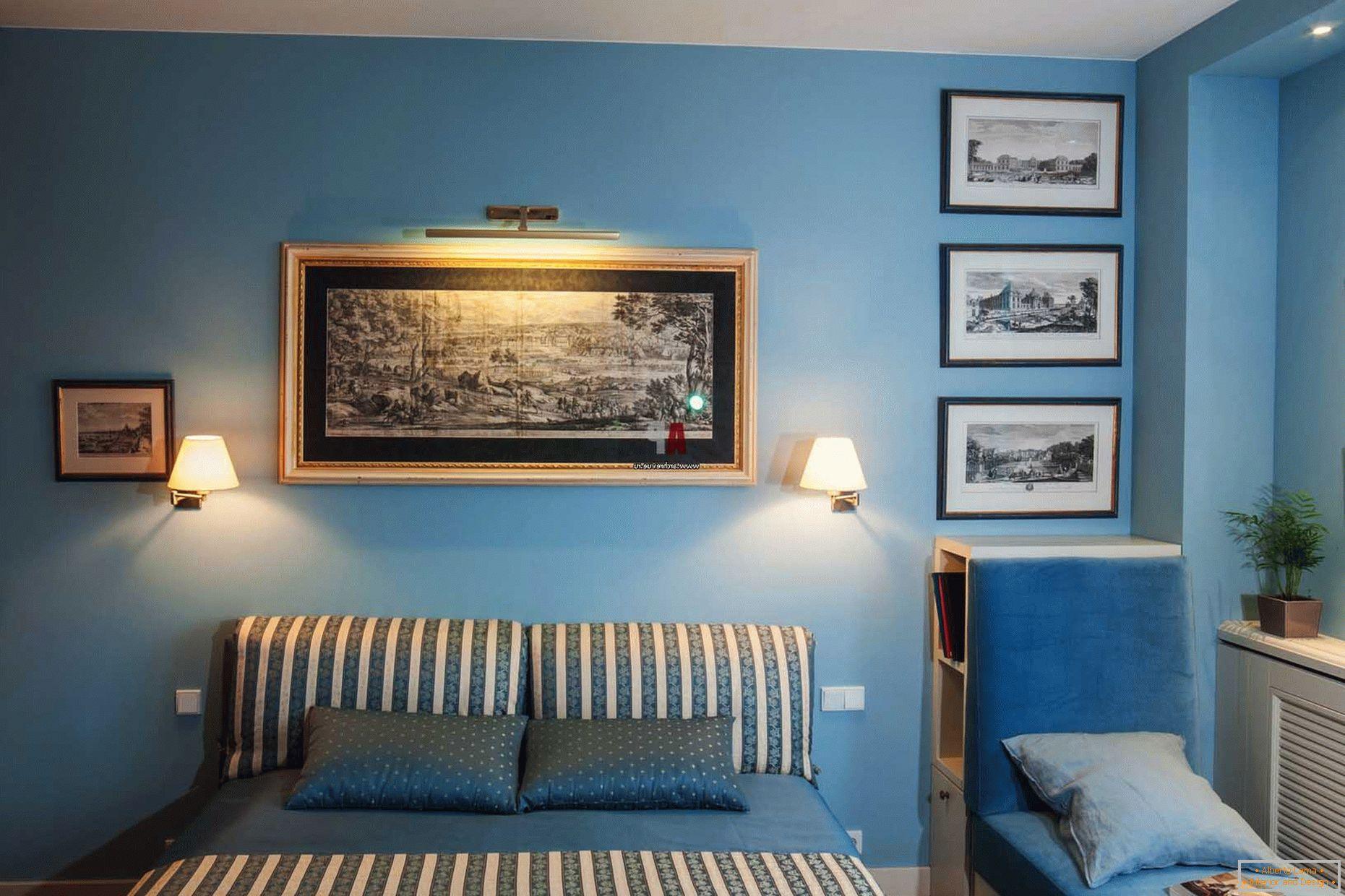 Niebieska Sypialnia 75 Projekt Zdjęcia I Wnętrze